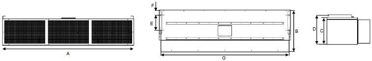 AB Series electric air curtain dimensions