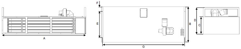 AB Series gas air curtain dimensions