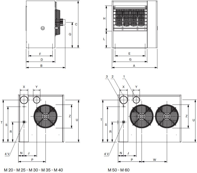 Gas fired unit heater M dimensions